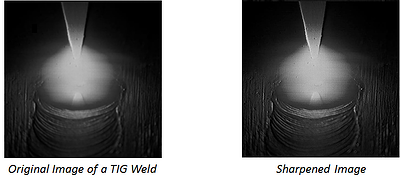 Original vs. sharpened images from a Weld Camera with High Dynamic Range imaging