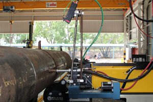 A Xiris Weld Camera Configured to Monitor a Pipe Cladding Process