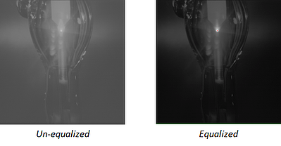 Unequalized and equalized images from a Weld Camera